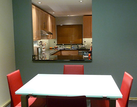 View of new kitchen from enlarged pass through in dining room.