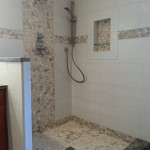 Replaced shower, added custom tile and wall niche with glass shelf.