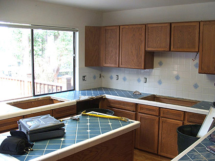 Before picture of complete kitchen remodel.